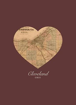 City Streets Mixed Media - I Heart Cleveland Ohio Vintage City Street Map Americana Series No 004 by Design Turnpike
