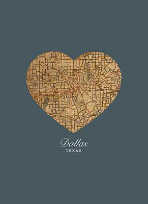 Dallas Mixed Media - I Heart Dallas Texas Vintage City Street Map Love Americana Series No 030 by Design Turnpike