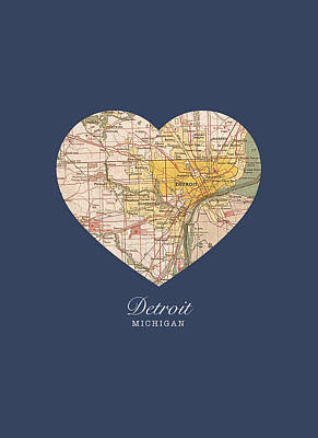 City Streets Mixed Media - I Heart Detroit Michigan Vintage City Street Map Americana Series No 001 by Design Turnpike