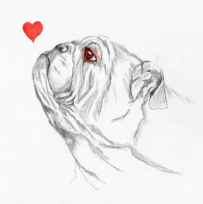 English Bulldog Drawing Painting - I Heart English Bulldogs by Carol Wetovich