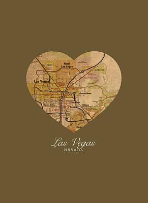 City Streets Mixed Media - I Heart Las Vegas Nevada Vintage City Street Map Americana Series No 023 by Design Turnpike