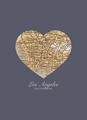 City Streets Mixed Media - I Heart Los Angeles California Vintage City Street Map Americana Series No 018 by Design Turnpike