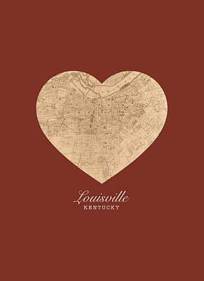 Kentucky Mixed Media - I Heart Louisville Kentucky Vintage City Street Map Americana Series No 007 by Design Turnpike