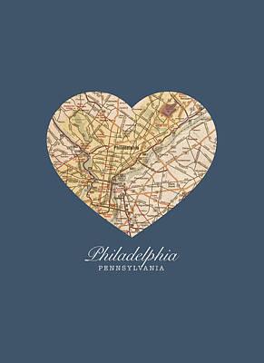 City Streets Mixed Media - I Heart Philadelphia Pennsylvania Vintage City Street Map Americana Series No 012 by Design Turnpike