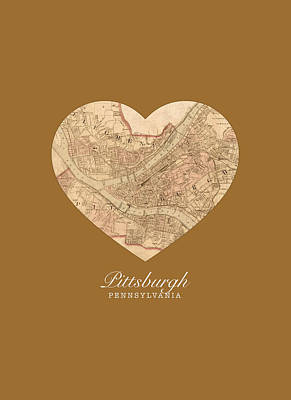 City Streets Mixed Media - I Heart Pittsburgh Pennsylvania Vintage City Street Map Americana Series No 009 by Design Turnpike