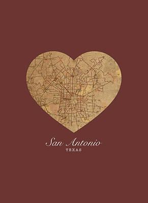 City Streets Mixed Media - I Heart San Antonio Texas Vintage City Street Map Love Americana Series No 029 by Design Turnpike
