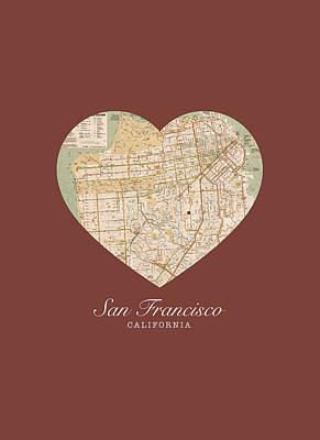 City Streets Mixed Media - I Heart San Francisco California Vintage City Street Map Americana Series No 017 by Design Turnpike