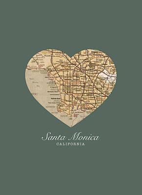 Santa Monica Mixed Media - I Heart Santa Monica California Vintage City Street Map Americana Series No 020 by Design Turnpike