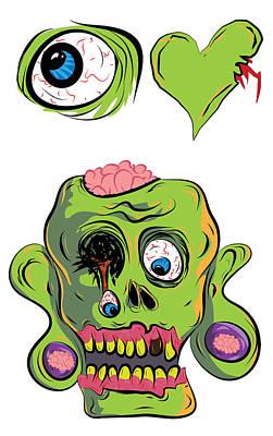 I Heart Zombies / I Love Zombies Print by Jera Sky