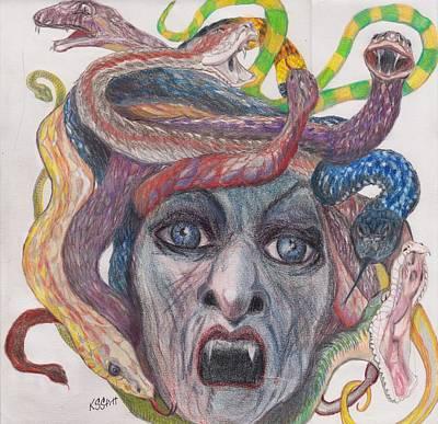 Gorgon Drawing - I Just Want A Trim by Karen Stitt