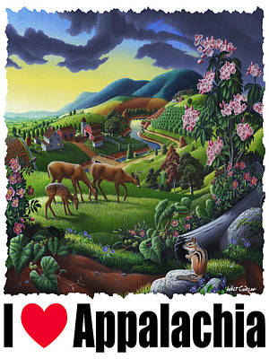 Chipmunk Painting - I Love Appalachia - Deer Chipmunk High Meadow Appalachian Landscape 1 by Walt Curlee