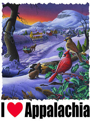 I Love Appalachia - Small Town Winter Landscape - Cardinals Print by Walt Curlee