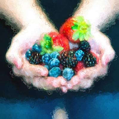 Raspberry Mixed Media - I Love Fruit by Gary Guthrie