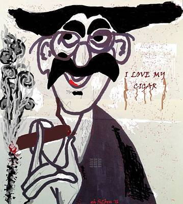 Groucho Marx Drawing - I Love My Cigar by Gh FiLben