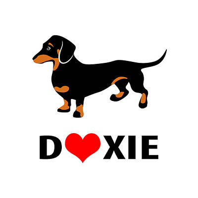 I Love My Doxie Print by Antique Images