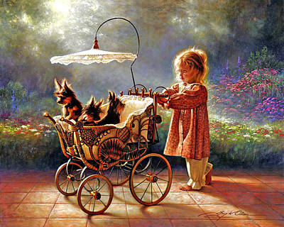 Little Girl Painting - I Love New Yorkies by Greg Olsen