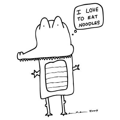 Alligator Drawing - I Love Noodles Comic by Karl Addison