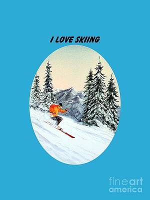 Skiing Action Painting - I Love Skiing  by Bill Holkham