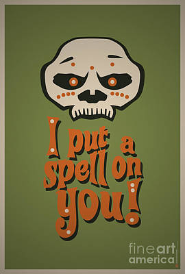 I Put A Spell On You Voodoo Retro Poster Original by Monkey Crisis On Mars