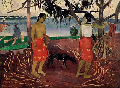 Animal Painting - I Raro Te Oviri, Under The Pandanus by Paul Gauguin