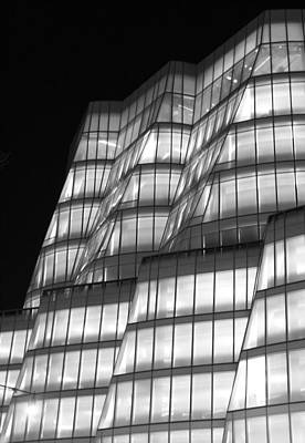 Iac Building Night Time  Print by Christopher Kirby