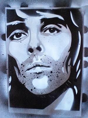 Graffiti Painting - Ian Brown Portrait by Leon Keay