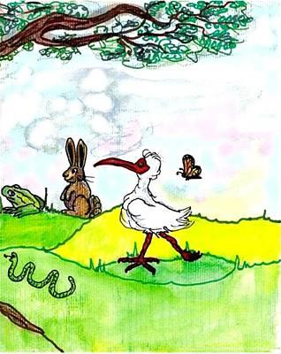 Ibis Drawing - Ibis And Friends Listening by Carol Allen Anfinsen