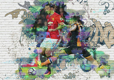 Wayne Rooney Digital Art -  Ibrahimovic Street Art by Don Kuing