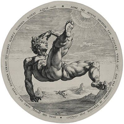 Icarus Drawing - Icarus From The Four Disgracers Series by Hendrik Goltzius