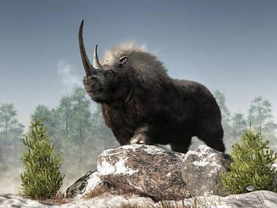 Rhinoceros Digital Art - Ice Age Tough by Daniel Eskridge