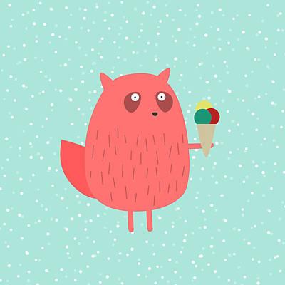 Squirrel Drawing - Ice Cream Dreams #1 by Fuzzorama