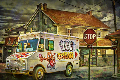 Strawberry Sundae Photograph - Ice Cream Truck Crossing An Urban Intersection by Randall Nyhof