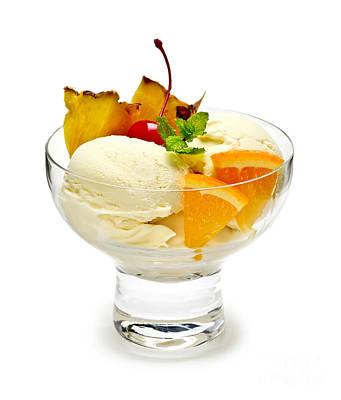 Ice Cream With Fruit Print by Elena Elisseeva