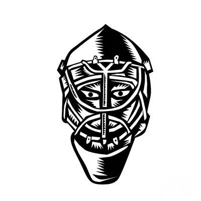 Ice Hockey Goalie Helmet Woodcut Print by Aloysius Patrimonio