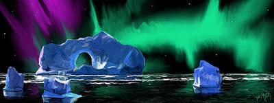 Night Landscape Digital Art - Ice Lights by Daniel Mowry