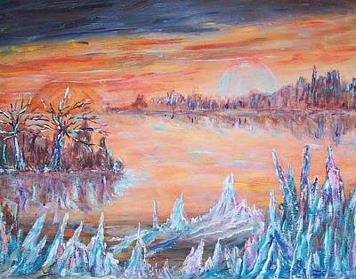 Outerspace Painting - Ice Planet by Mary Sedici