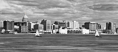 Ice Sailing Bw - Madison - Wisconsin Print by Steven Ralser