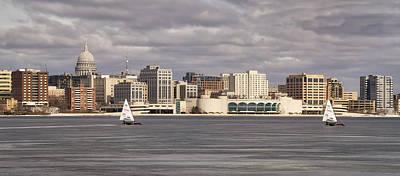Photograph - Ice Sailing - Lake Monona - Madison - Wisconsin by Steven Ralser