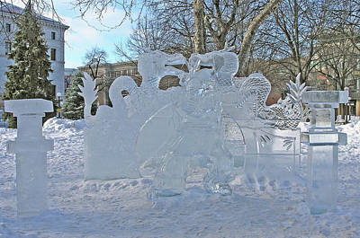 Winter Photograph - Ice Sculpture At Rice Park 5 by Janis Beauchamp