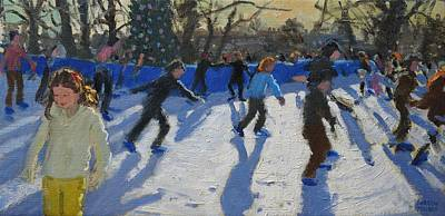 Ice Skaters At Christmas Fayre In Hyde Park  London Print by Andrew Macara