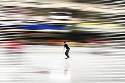 Ice Skating Blast Print by Michel Godts