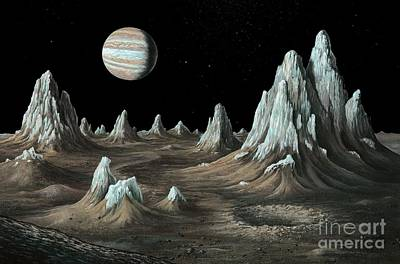 Ice Spires On Callisto, Artwork Print by Richard Bizley/Callisto