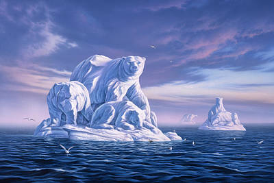 Carved Painting - Icebeargs by Jerry LoFaro