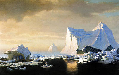 Antarctica Painting - Icebergs by William Bradford