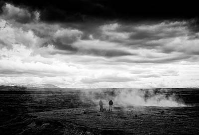 Spring Photograph - Iceland Black And White Landscape Haukadalur by Matthias Hauser
