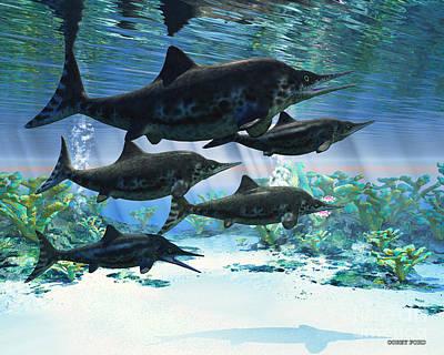 Monster Digital Art - Ichthyosaur by Corey Ford