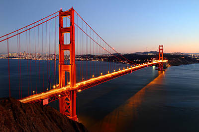 Golden Light Photograph - Iconic Golden Gate Bridge In San Francisco by Pierre Leclerc Photography