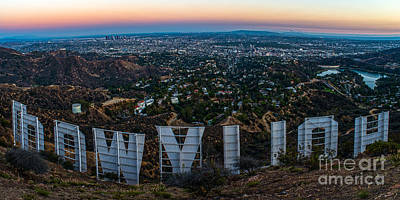 Los Angeles Skyline Photograph - Iconic Hollywood Sunset by Art K