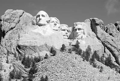 Travel Photograph - Iconic Mount Rushmore Presidents South Dakota Black And White by Shawn O'Brien
