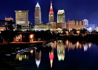 Iconic Night View Of Cleveland Print by Frozen in Time Fine Art Photography